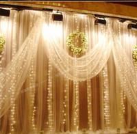 rideaux de toile de fond achat en gros de-Cascade En Plein Air 6mx3m 600 Led Fée Rideau Lumière De Noël De Mariage Lumière Toile de Fond Partie Jardin Décoration AC 220 v 110 v