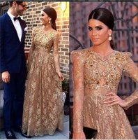 Wholesale Daffodil Bubble Dress - 2016 Fashion Long Sleeves Bubble Shoulder Beading Gold Lace Gorgeous Evening Dresses Party Gowns Vestidos Prom Dresses