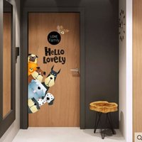 10 estilos Cartoon Animals Door Sticker para bebê Kids Room Children DIY Art Wall Decal Nursery Quarto decoração poster Mural