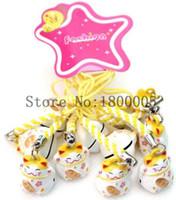 Wholesale maneki neko strap - 100 pcs yellow  white Maneki Neko Lucky Cat Charms Keychain Handbags Cell Phone Straps Charm with Bell For Sale