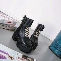 Wholesale Short Rainboots Women - new~u657 black genuine leather platform laced thick heel short boots luxury designer runway fashion brand l
