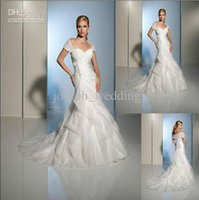 Wholesale Sexy Wedding Dress Costumes - Free Shipping Mermaid Strapless Cap Sleeve Floor-Length Organza Satin Sexy Wedding Dress Costume
