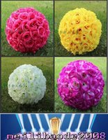 Wholesale 25cm kissing ball flowers - 25CM 10 inch Artificial Encryption Rose Silk Flower Kissing Balls Hanging Ball Christmas Ornaments Wedding Party Decorations Supplies MYY