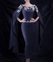 Wholesale Turkey Wears - Navy Blue Mermaid Cloak Dresses Evening Wear Silver Beaded Long Dubai Turkey African Cape Prom Dresses Formal Gowns 2017 Fast Shipping Cheap
