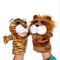 Wholesale Cute Love Dolls - Animal Hand Puppets Baby Loves Doll 24cm Parent-child Games Toys Novelty Cute Orangutans Monkey Hippo Tiger Puppet OOA3557