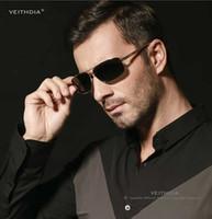 ingrosso degli uomini occhiali da sole polarizzati in alluminio-VEITHDIA Aluminium Magnesium Brand New Polarized Occhiali da Sole da Uomo 3 Colori Occhiali da Sole Uomo Driving Goggle Eyewear Accessori 2458