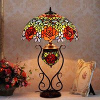 Wholesale Iron Like - Butterfly Rose Mother&Son Tiffany lamp living room Picture Lamp European-style garden-like painting Antique Art Glass Lamps