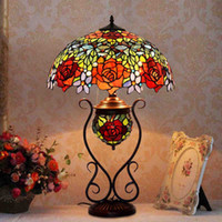 Papillon Rose MotherSon Tiffany lampe salon Photo Lampe de style européen jardin-like peinture Antique Art Glass Lamps
