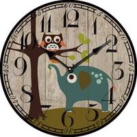 Wholesale Vintage Owl Wall - Wholesale- Kids Wall Clock Modern Design Large Decorative Vintage Antique Clock Decor Animal Owl Wall Clock For Children