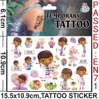 Wholesale Baby Temporary Tattoos - Wholesale- Doc Mcstuffins New Design Cartoon Temporary Tattoos Sticker for Kids Birthday Party Decoration baby shower Supplies