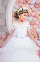 Wholesale Cheap Vest Wrap - Cheap White Flower Girls Dresses For Wedding Gowns Cap Sleeve Lace Sash Bow Girl Birthday Party Dress Zipper Tulle Pageant Dress