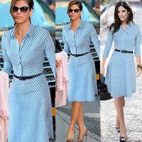 Wholesale Denim Women S Wear - 2018 New Spring Summer Women Casual Winter Dot Long Sleeves Fashion Work Wear Blue Work Denim Dresses Shirt Office Dresses