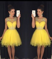 Wholesale mini crystal ball light - 2018 Yellow New Homecoming Dresses Sheer Crew Neck Beaded Crystals Tulle Short Mini Prom Gowns vestido formatura curto Cocktail Dresses