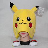 Wholesale Wholesale Children Stuffs - Anime Poke Go Pikachu Fancy Costume Soft Warmer Hat Cap Beanie Stuffed Plush Mask Cosplay Winter Hat Capfor Children PKC008