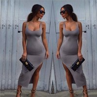 Wholesale Dress Sling - 2016 New Sexy Club Dress for Womens Party Evening Long sleeveless Solid color dress Casuali Sling Split Evening Dresses