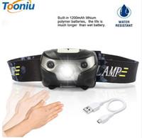 Wholesale Led Body Flashlight - 3000LM Mini Rechargeable LED HeadLamp Body Motion Sensor LED Bicycle Head Light Lamp Outdoor Camping Flashlight With USB