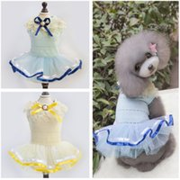 Dresses Spring/Summer Valentine's Day Fashion Princess Pet Dresses With Lace Blue White Color Bowknot Pearl Dog Coat Brand New Good Quality For Spring Automn Min Order 50PCS