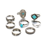 Moda 8Pcs / set Retro Silver Fashion Geometry Stone Ring Carved Flower Mini Knuckle Rings For Women Jewelry Wholesale D22S