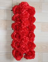 Wholesale Artificial Chrysanthemums - Red roses and chrysanthemum Artificial wedding silk rose arch flower wedding decoration flower row flower frame 10pcs lot