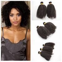 kinky kıvırcık insan saçları satılık toptan satış-Brezilyalı Kıvırcık saç örgü Atkılar 6 Adet Kinky Kıvırcık İnsan Saç Dokuma Kıvırcık saç ürünleri G-EASY Satışa