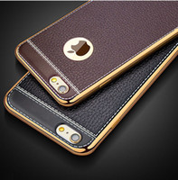 Wholesale Iphone Luxury Leather Chrome Case - For iphone7 6 plus Litchi Leather Style Chrome Electroplating Luxury Soft 3D TPU Case Cover For iphone 7 6s