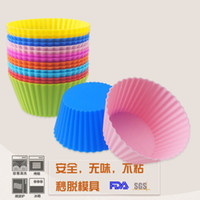 Wholesale Silicone Baking Molds Muffin - New 7cm muffin cupcake molds 8colors FDA SGS DIY cupcake baking tools Round shape silicone jelly baking mold factory wholesale
