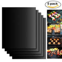 Wholesale heat resistant box - BBQ Grill Mat Non-Stick 2mm Thick Durable 33*40cm BBQ Grill Mat Reusable Gas Barbecue Grilling Mat Easy Cleaning Heat Resistant 5pc box Sale