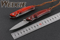 Wholesale Red Wolf Fishing - MEDGE FREE WOLF Damascus VG10 Small Little Drop Point Blade Red Sandlewood Handle Folding Pocket Knife EDC Collection Knives With Wood BOX