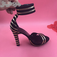 Wholesale Ladies Size 14 High Heels - 2016 Black Gold Summer Style Sandals Custom Made Plus Size Real Image Ladies Party Shoes High Heels Bridal Accessories Fashion