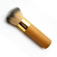 Wholesale Airbrush Pink - 200pcs Tarte Buffer Airbrush Finish powder Foundation Bamboo Foundation Brush Makeup Brushes Makeup Tool