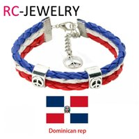 Wholesale Gift Football World Cup - 27# Dominican rep National World Cup Football Fans Sports wristbands souvenirsTeam Logo WorldCup Sport Bracelet