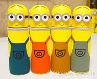 Wholesale Minion Drive - 100PCS LJJH598 Children Water Cup Cartoon Minions Despicable Me Borosilicate Texture Suction Cup Vacuum Cup Winer Keep Warm Cover 280ML