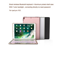 Wholesale Aluminum Bluetooth Keyboard Case Cover - Aluminum Keyboard Cover Case with 7 Colors Backlight Backlit Wireless Bluetooth Keyboard lithium Battery For ipad pro 10.5 with Retail box