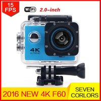 Wholesale Sports Hd Waterproof Dv Camera - F60 Sports Camera 4K 30FPS Ultra HD DV 16MP WiFi Mini Cam Go 30M Waterproof Pro Action camera Beyond HERO 4 PK SJ5000