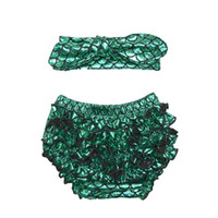 Wholesale Baby Headbands Appliques - 2016 baby girl little mermaid ruffle shorts with bow headband set ruffle bloomer baby diaper cover summer cloth 0-2T 5colors choose