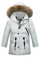 Wholesale Girls Real Fur Jackets - New Winter Baby Boys Girls Down Coats Real Fur Collars Warm Thick Kids Jackets Children Outerwear Outdoor Windproof Parkas