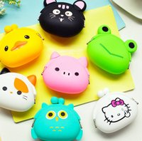 Wholesale Small Silicone Purses - Lovely Animal Silicone Small Bags Mini Coin Bags Mini Coin Purse Change Wallet Purse Key Wallet Coin Wallet Children Kids Gifts Free DHL