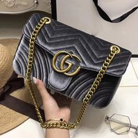 Wholesale Designer Brand Purse Handbags - Marmont shoulder bags women luxury brand Suede Velvet chain crossbody bag handbags famous designer purse high quality female bag