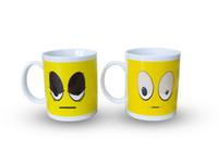 Wholesale Eye Mug - DHL shipping free 48pcs Best gift yellow big eyes white ceramic heat sensitive color changing coffee mug tea cups