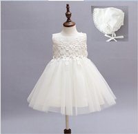 Wholesale Toddler Net Dress - High Quality Infant Baby Princess Dress 2016 New Toddler Girls Birthday Party Lace Dresses Newborn Babies Lace Net Yarn Dress With Hat