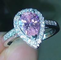 anéis de diamantes rosa simulado venda por atacado-Tamanho 5-10 pêra corte de Noivado luxo Jóias rosa safira 925 prata esterlina cheia Diamonique Casamento anel de Diamante simulado conjunto