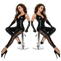 virilha do zipper do bodysuit venda por atacado-Atacado-Faux Leather Virilha Zipper Catsuit Preto Sexy Spandex Catsuit Látex Mulheres Clubwear Hot Lingerie Fetiche Rendas Perna Bodysuit Traje