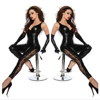 siyah spandex bodysuit toptan satış-Toptan-Faux Deri Kasık Fermuar Catsuit Siyah Seksi Spandex Lateks Catsuit Kadınlar Clubwear Hot Lingerie Fetiş Dantel Bacak Bodysuit Kostüm