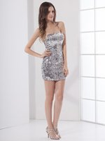 Wholesale Sexy Girls Tight Wear - 2016 Girls Silver Sequins Sparkly Party Dresses Sheath Tight Fitted Strapless Short Mini Homecoming Dresses