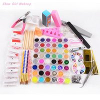 Wholesale Tips 48 - New Acrylic Nail Art Brush 48 Color Glitter Powder Tool Set Kit Nail Tip Nails Art Set DIY 2016 Brand New Conjunto Manikur 160721#