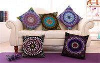 Wholesale Indian Cushion Covers - Mandala Indian Ombre Pillow Case Hippie Boho Throw Cushion Cover Floor Pillow Cover Bohemian Pillowcase Sofa Car Decoration 0707015