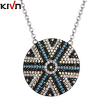Wholesale Rhodium Plated Cross - KIVN Fashion Jewelry Turkish Blue Evil Eye Pave CZ Cubic Zirconia Womens Girls Bridal Wedding Pendant Necklaces Birthday Gifts