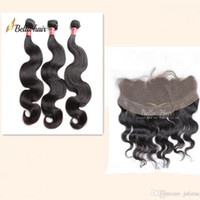 Wholesale Silky Frontal - Brazilian Hair Bundles with Closure Ear to Ear Lace Frontal Closure Silky Straight Body Wave Hair Weaves with Lace Closure Bella Hair