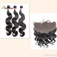 sedoso onda de tejido de pelo al por mayor-Bella Hair® 8A paquetes de cabello brasileño con cierre de oreja a oreja Cierre frontal de encaje Sedoso cabello de onda recta teje con cierre de encaje