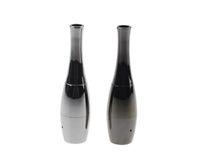 vasos de aço inoxidável venda por atacado-Boliche Canhão Atomizador Vaso Dupla Bobina De Cera Erva Seca Vaporizador de Boliche Atomizador De Aço Inoxidável Preto Forma de Metal Vapor Eletrônico E cigs